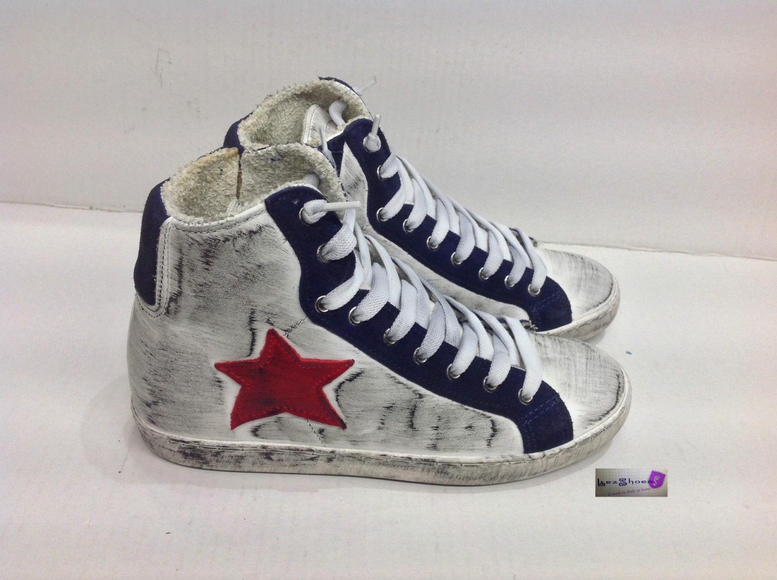 scarpe sneakers alte uomo donna pelle bianco blu stella ross  3785fa2bd8b