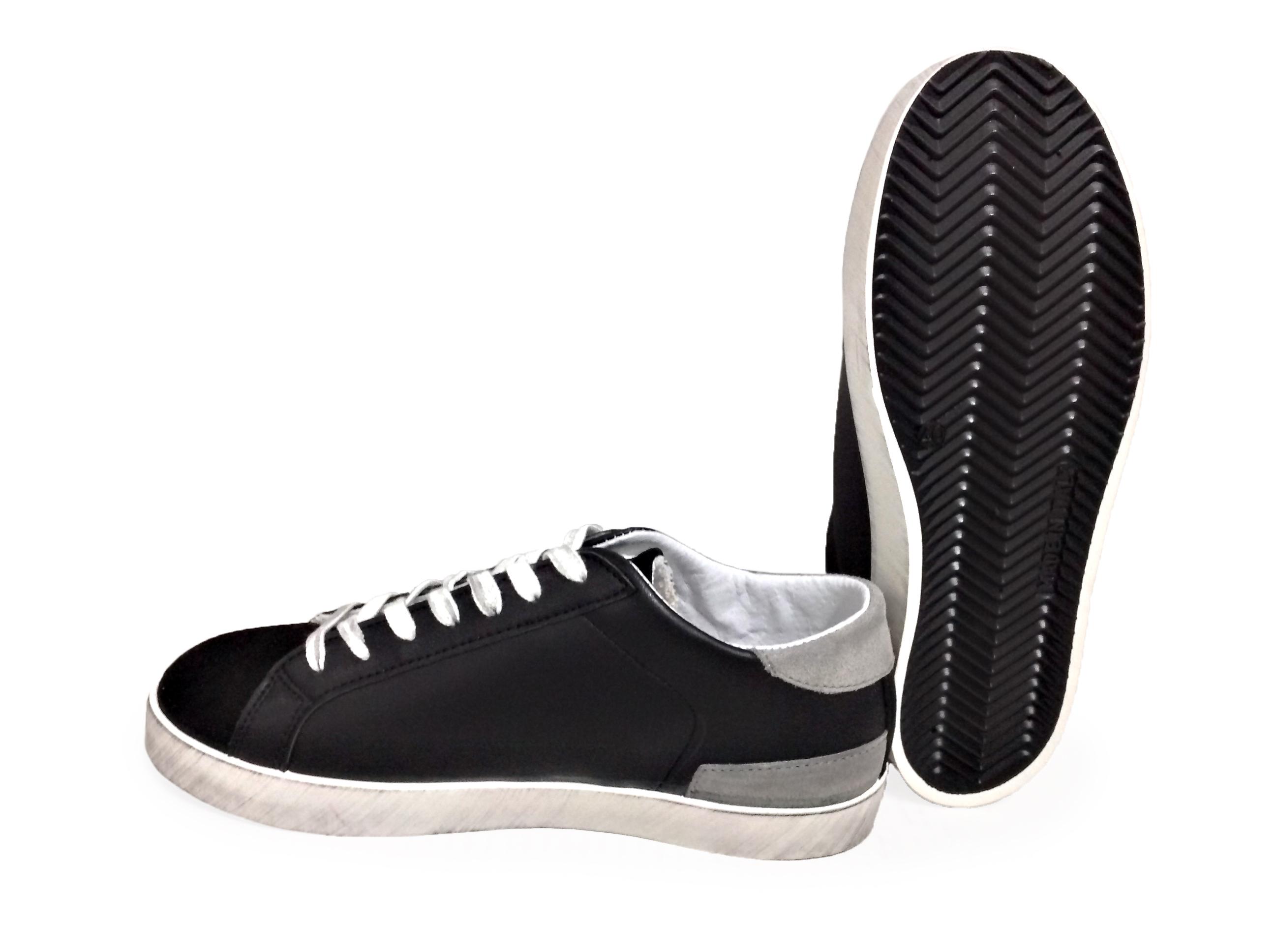 Dettagli su scarpe sneakers basse uomo pelle nero stella grigia camoscio fondo sfumato Nuovo