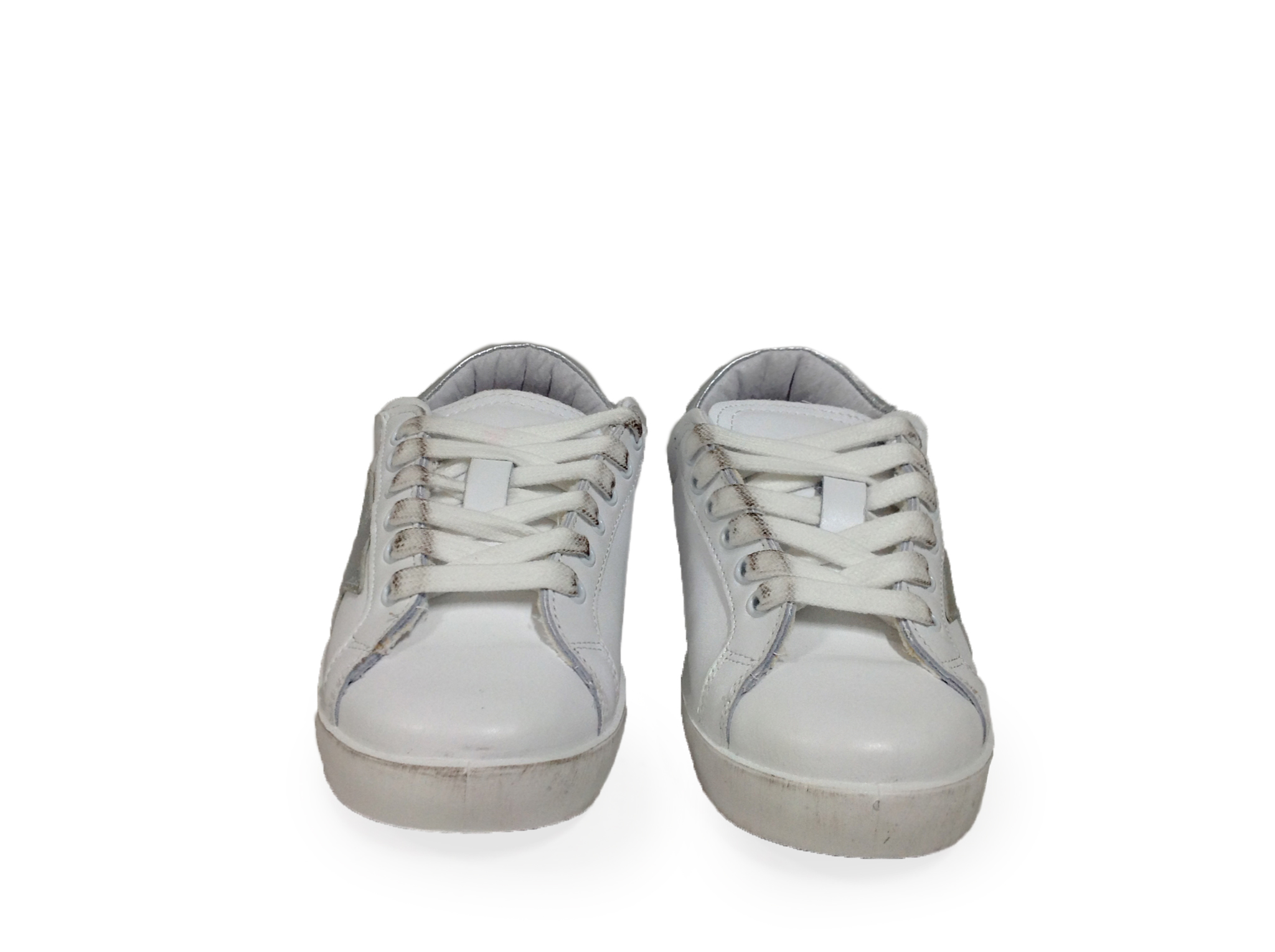 ... scarpe sneakers basse donna pelle bianca stella argento Nuovo Arish  made in ital ... 82e0cae8d80