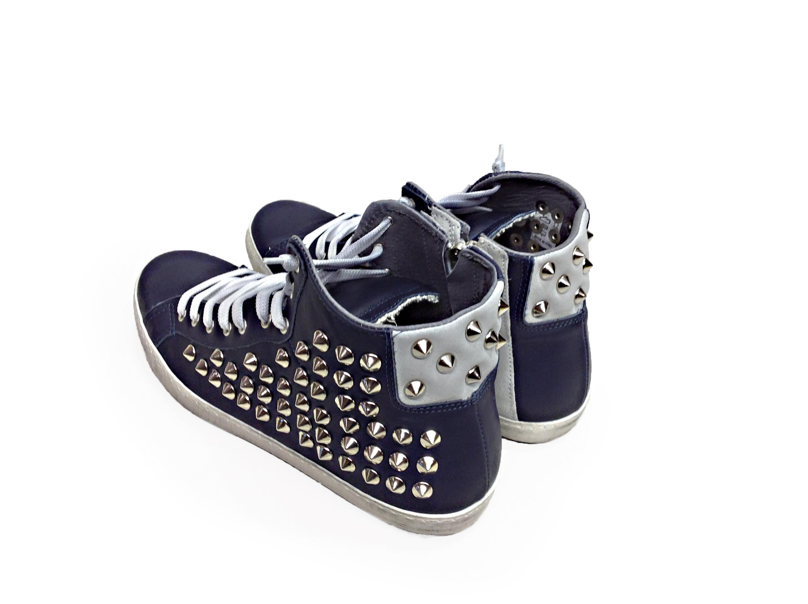 scarpe sneakers alte uomo cerniera Via Condotti pelle blu gh  f66246602c7