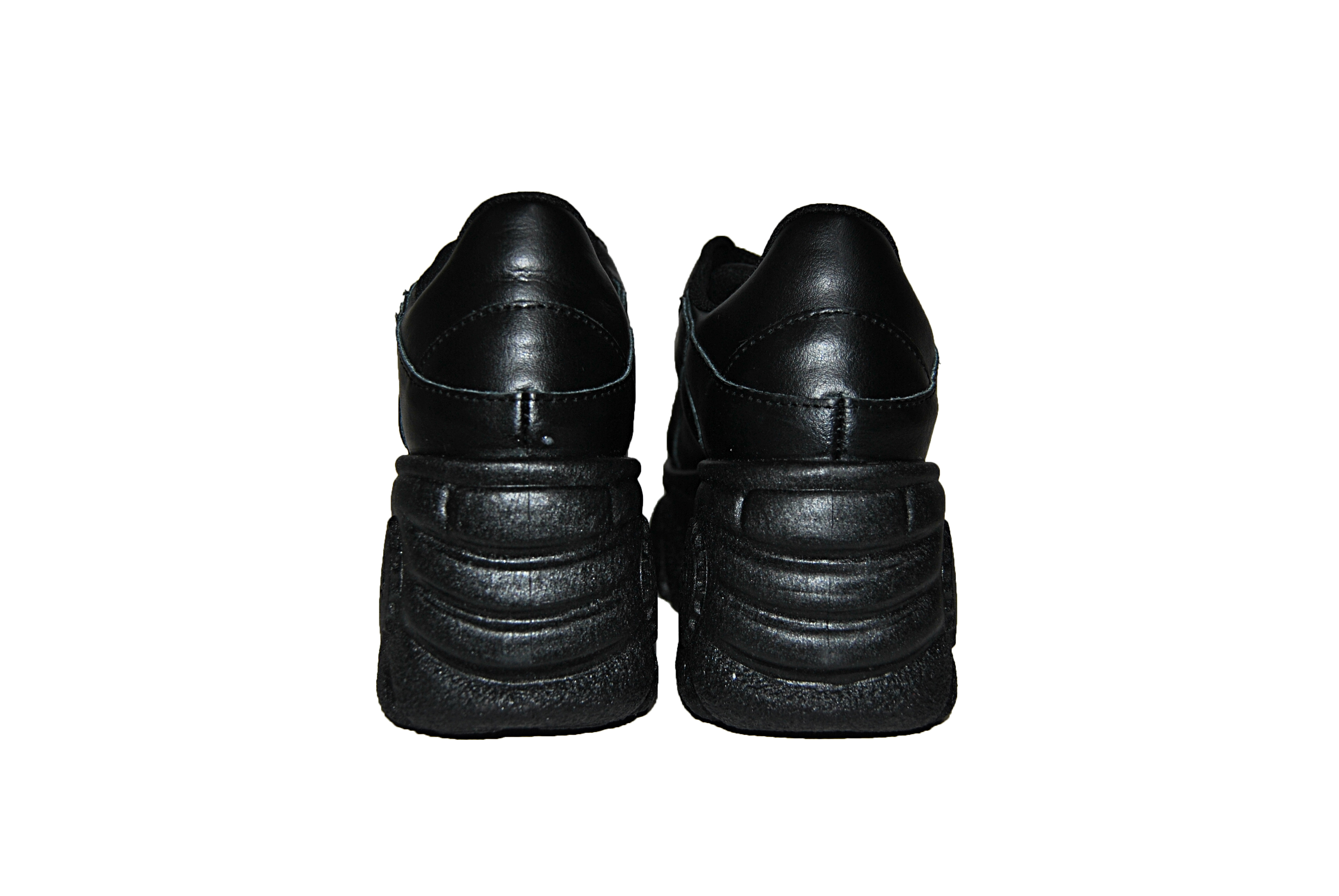 Sneakers Lezshoes Pelle In Nero Scarpe Alte Donna mNn0yv8OwP