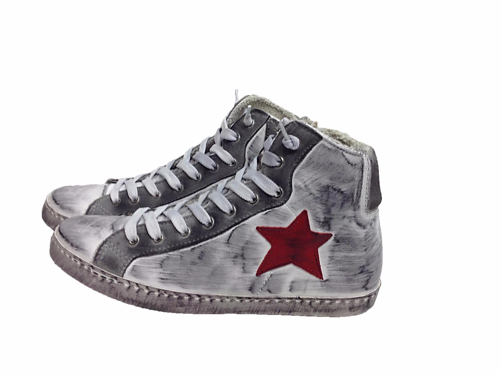scarpe sneakers alte uomo donna pelle bianco grigio stella rossa sfumato  vintage 90ef2e92a33