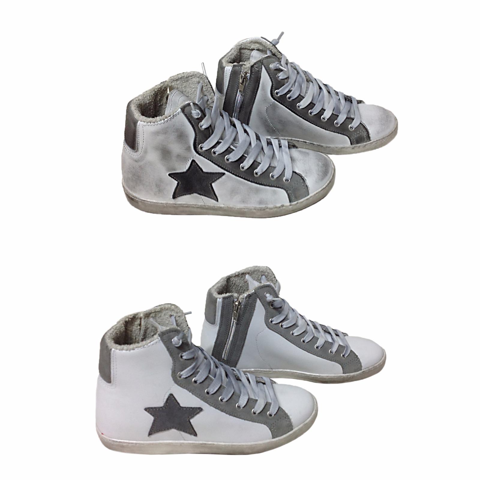 scarpe sneakers alte uomo pelle bianco grigio bicol stella sfumato Via  Condotti 50abfd45293
