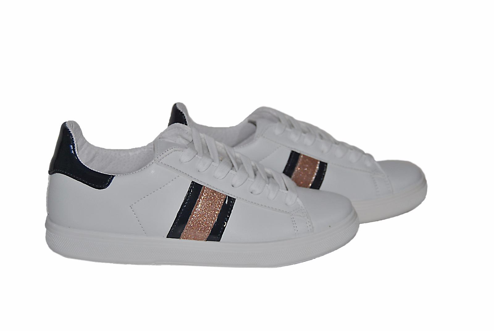 0fa8cd94ce88 ... scarpe sneakers basse donna pelle bianca fascia vernice blu rosa Arish  Nuovo ...