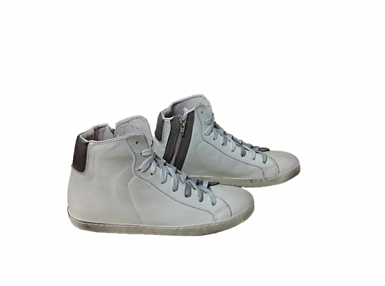 VIA CONDOTTI Scarpe Sneakers Basse Pelle Traforata Bianco Nero Stella Metal