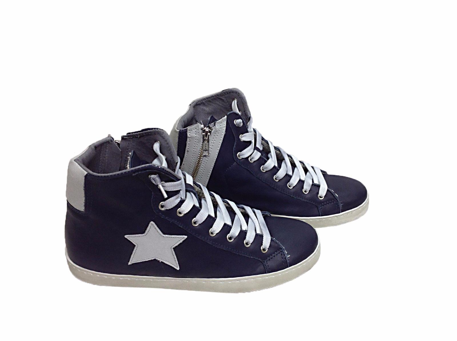 Dettagli su scarpe sneakers alte uomo Via Condotti pelle blu stella ghiaccio made in italy