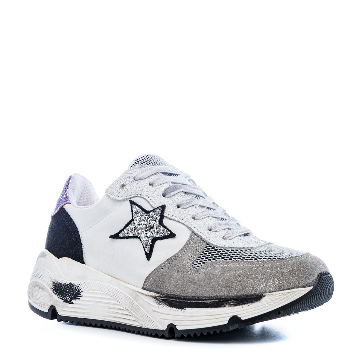 scarpe Sneakers donna Run Bianco Silver Grey Arish pelle stella glitter alta