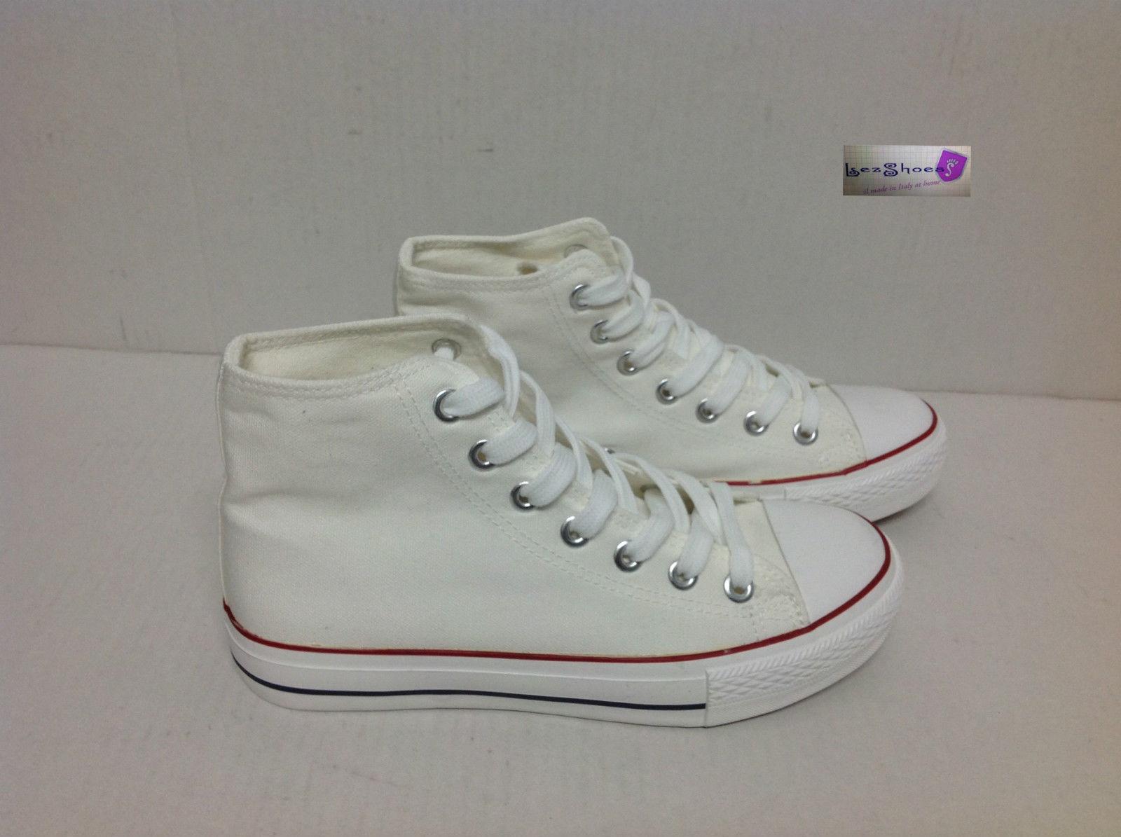 scarpe sneakers alte uomo stivaletto in tela bianche occhiel  61e3cd41066