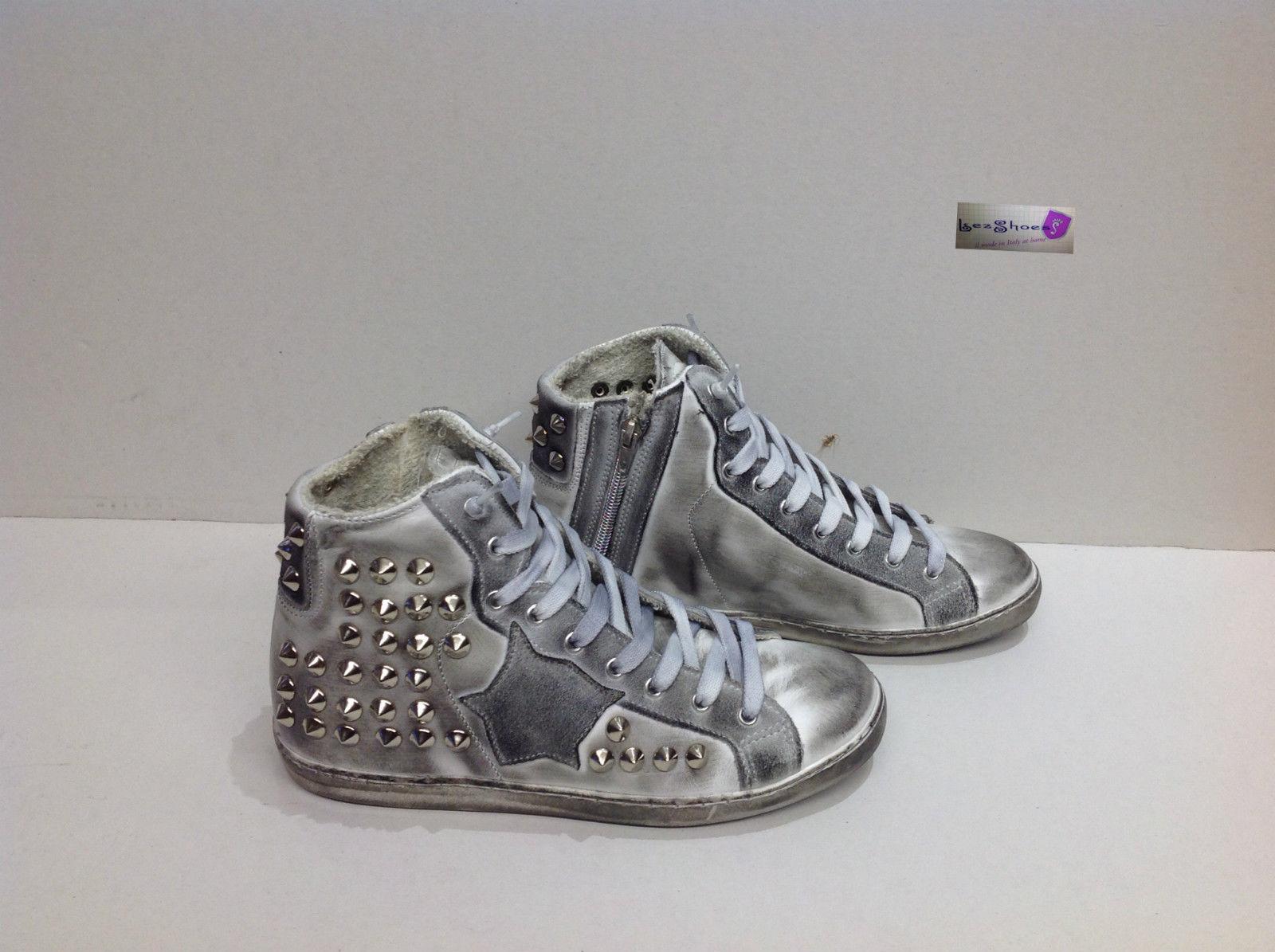 scarpe sneakers alte uomo pelle bianco ghiaccio Via Condotti  dd68d8f0893