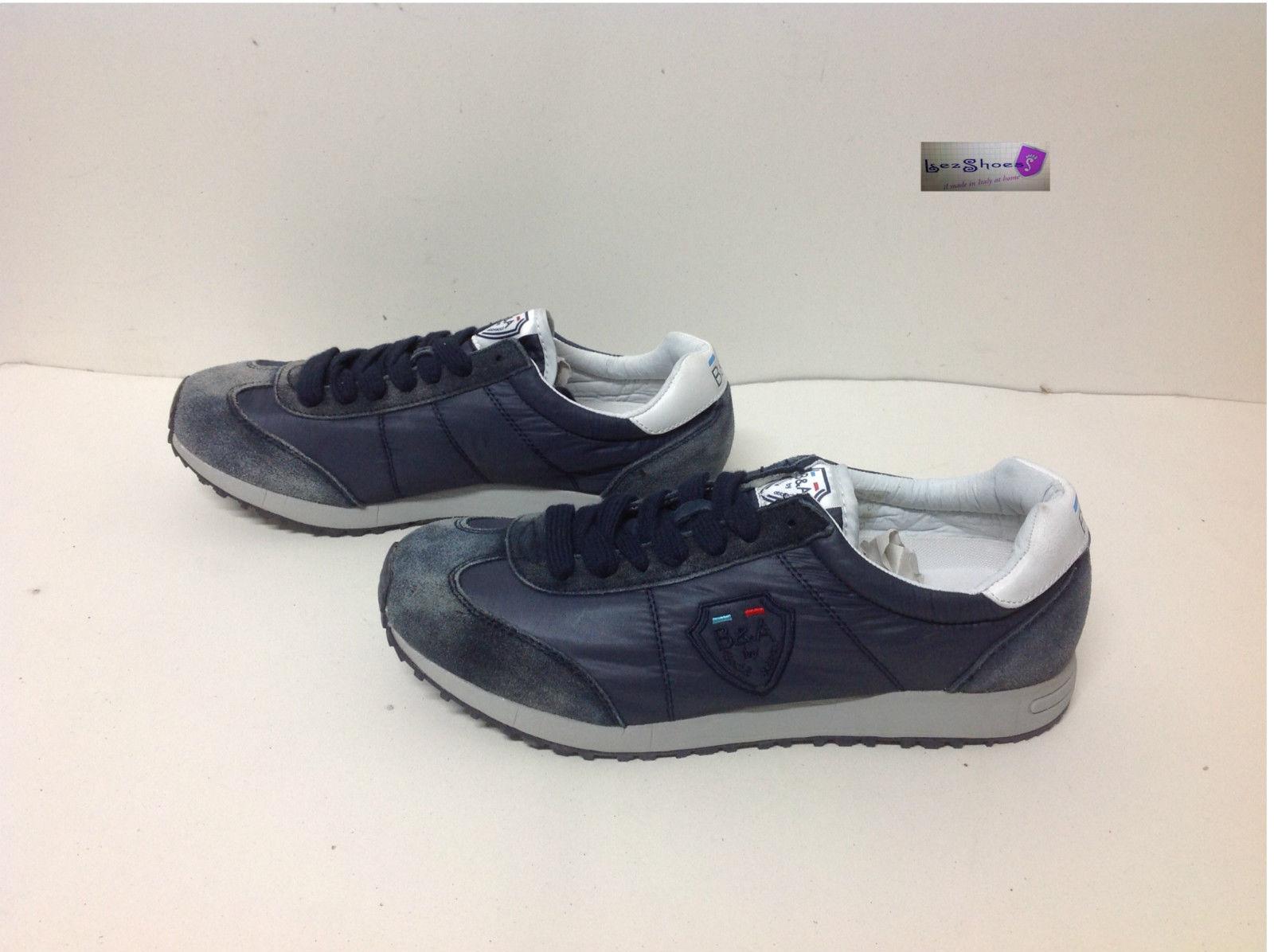 brand new 68616 8da6b Dettagli su scarpe sneaker basse uomo Baci E Abbracci vintage blu origin