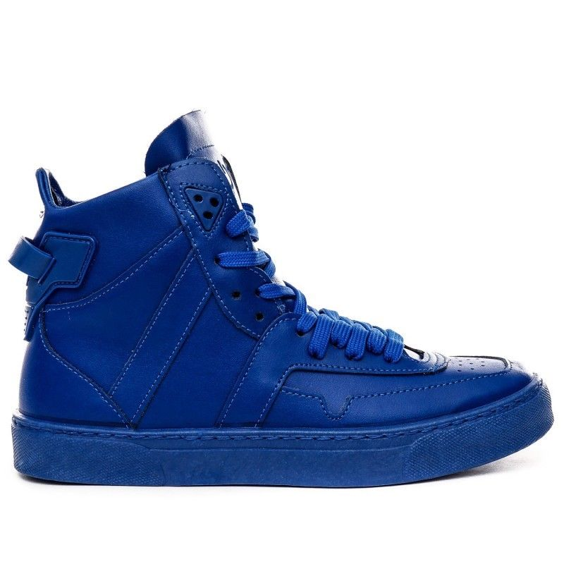 scarpe sneakers alte uomo stivaletto pelle blu Nuovo Of scar. codice   322802949350 5a2d16fce27