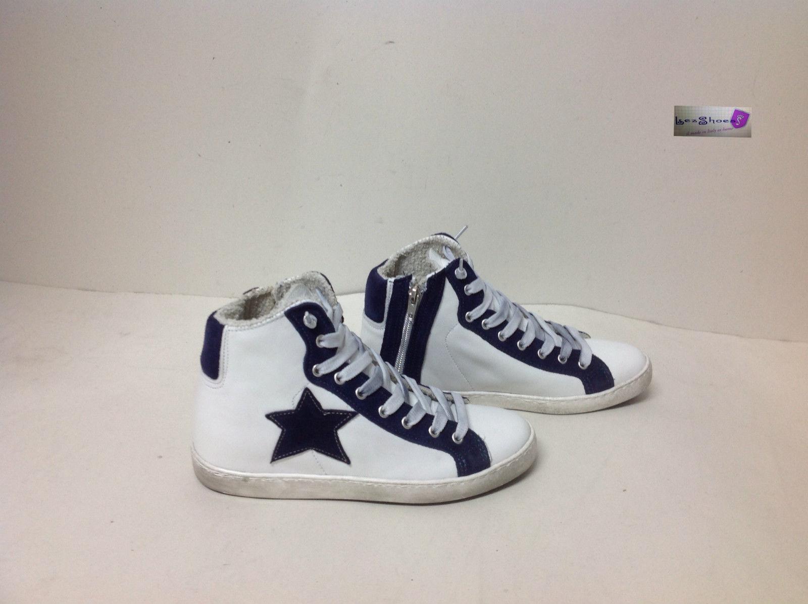 scarpe sneakers alte uomo pelle Via Condotti bianco stella b  af9c823f487