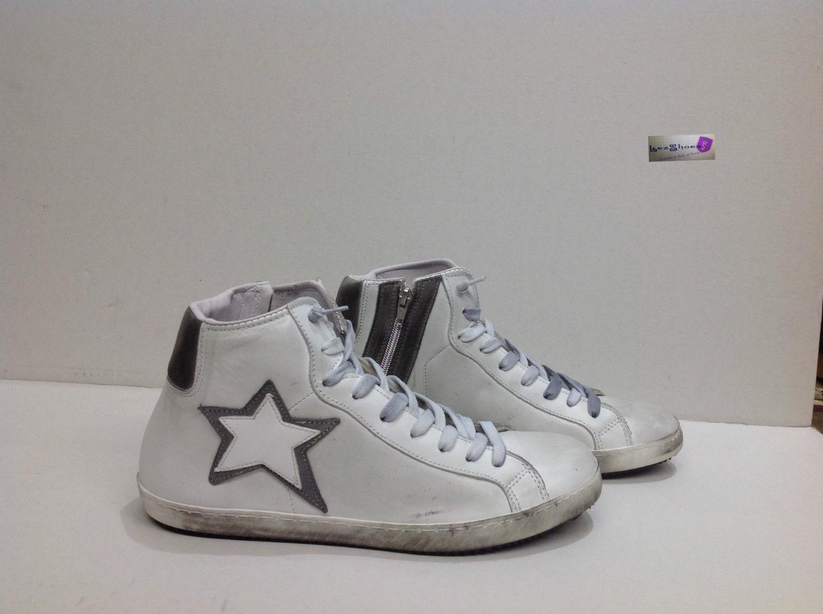 scarpe sneakers alte uomo stivaletto pelle bianca grigio dop. codice   322177001407 3f03ea5b7b2