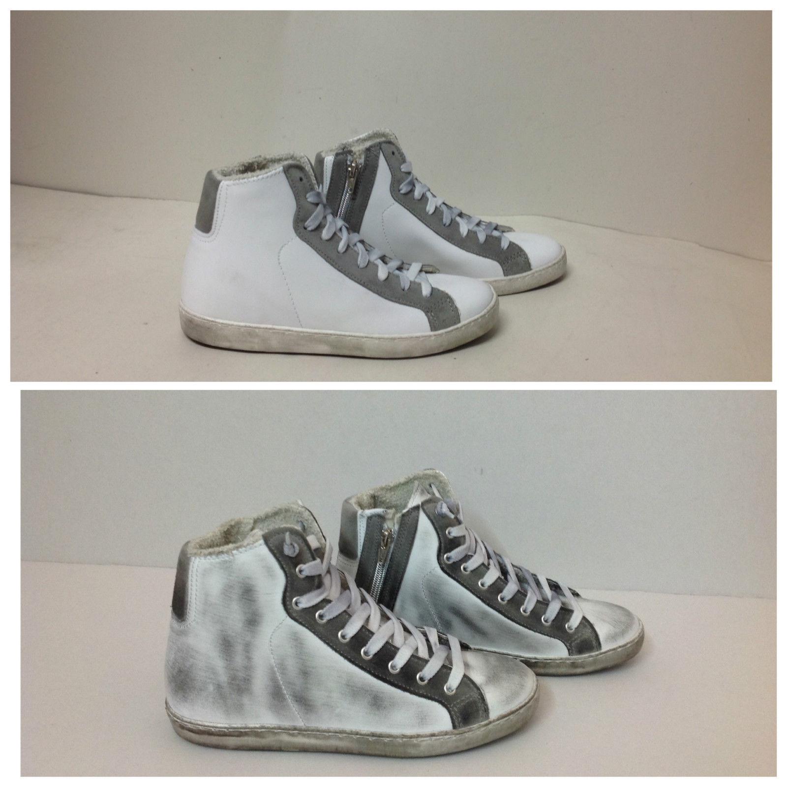 scarpe sneakers alte uomo pelle bianco grigio sfumato Via Co  708a79d146f