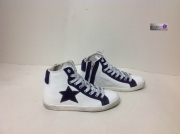 scarpe sneakers alte donna pelle bianco Via Condotti stella blu New Collection