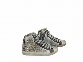 scarpe sneakers alte donna pelle sfumato Via Condotti borchie cono made in italy