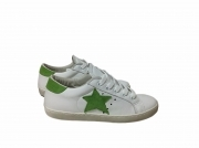 scarpe sneakers basse uomo Via Condotti pelle bianca stella verde New Collection