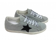 scarpe sneakers basse uomo grigie scamosciate stella nera pelle made in italy