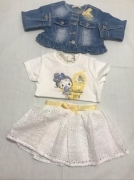 COMPLETO 3 PEZZI FEMMINA GONNA PIZZO GIACCA JEANS T SHIRT BIANCA COTONE NUOVO